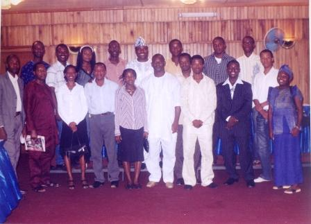 Mr. Olayinka Abiodun (club president in cap) with some other club members during the Christmas meeting held at the Lagos Travel Inn on 16/12/2006